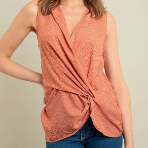 Peach Wrap Blouse with Polka Dots - NWOT